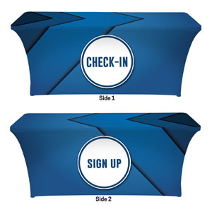 Bold Blue Sign Up Check In Stretch Table Covers