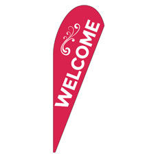 Welcome Curlicue Red Banner