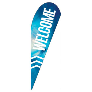 Chevron Welcome Blue Teardrop Flag Banners