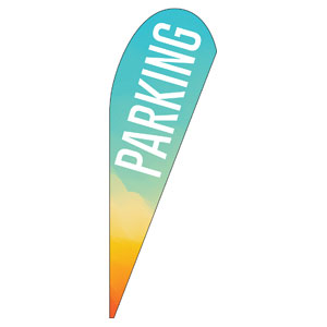 Parking Turquoise Orange Teardrop Flag Banners