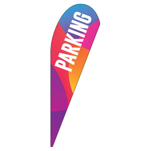 Curved Colors Parking Teardrop Flag Banners