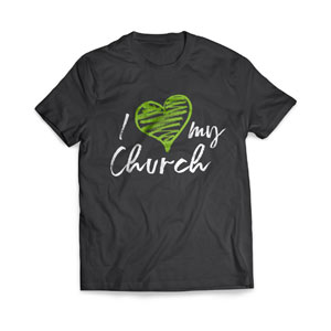I Love My Church Green Heart T-Shirts