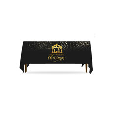 Black and Gold Nativity Table Throw