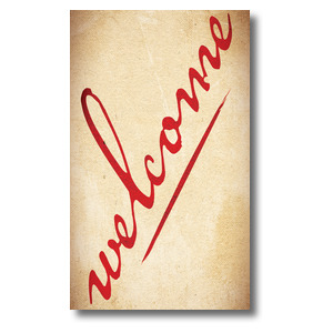 Red Script Welcome 3 x 5 Vinyl Banner