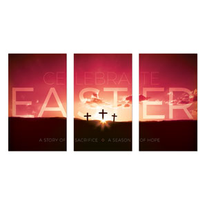 Celebrate Easter Crosses 3 x 5 Vinyl Banner