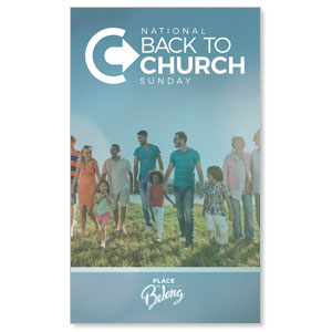 Back to Church Sunday People 3 x 5 Vinyl Banner