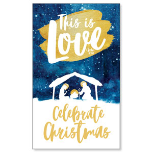 Painted Nativity 3 x 5 Vinyl Banner