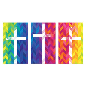 Bright Chevron Crosses 3 x 5 Vinyl Banner