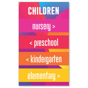 Curved Colors Children Directional 3 x 5 Vinyl Banner