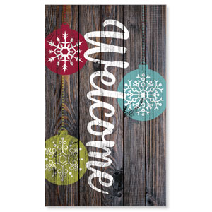 Dark Wood Christmas Ornaments 3 x 5 Vinyl Banner