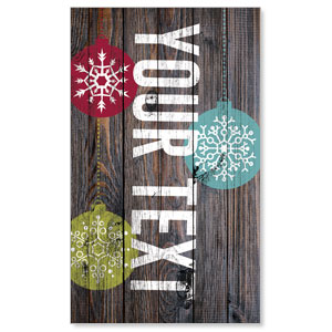 Dark Wood Christmas Ornaments Your Text 3 x 5 Vinyl Banner