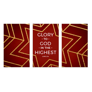 Red and Gold Snowflake Triptych 3 x 5 Vinyl Banner