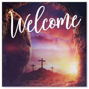 Dramatic Tomb Easter Welcome 3 x 3 Vinyl Banner