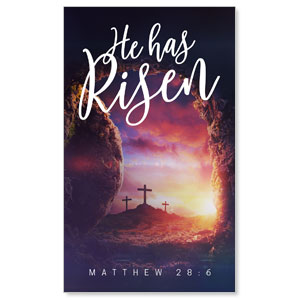 Dramatic Tomb Easter Scripture 3 x 5 Vinyl Banner
