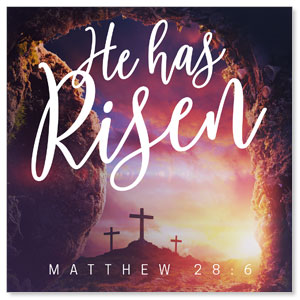 Dramatic Tomb Easter Scripture 3 x 3 Vinyl Banner