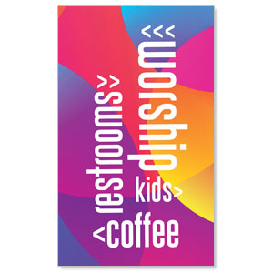 Curved Colors Directional 3 x 5 Vinyl Banner