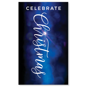 Celebrate Christmas Blue Sparkle 3 x 5 Vinyl Banner