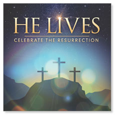 He Lives Crosses Window Banner