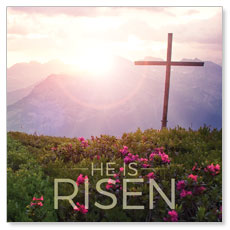 He Is Risen Mountain Window Banner