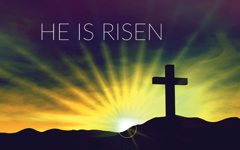He Is Risen Cross Banner - Church Banners - Outreach Marketing