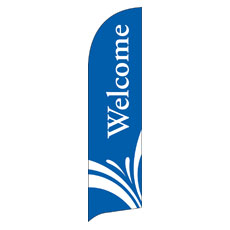 Welcome Blue Flag Banner