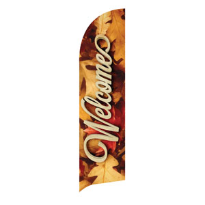 Welcome Leaf Pile Flag Banner