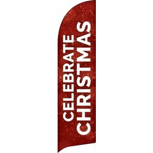 Red Sparkle Christmas Flag Banner