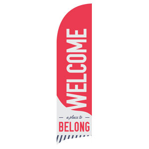 To Belong Red Flag Banner