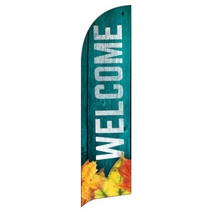 Blue Wood Bright Leaves Banners