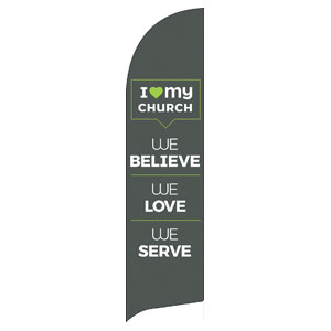 ILMC Believe Love Serve Flag Banner