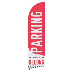 To Belong Red Parking Flag Banner