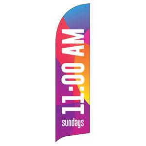 Curved Colors 11 AM Flag Banner