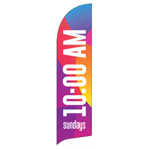 Curved Colors 10 AM Flag Banner
