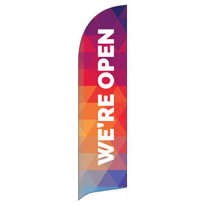 Geometric Bold We're Open Flag Banner