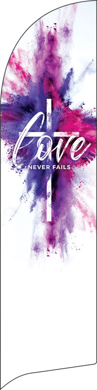 Banners, Christmas, Love Never Fails, 2' x 8.5'