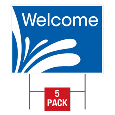 Welcome Blue Flag Yard Sign