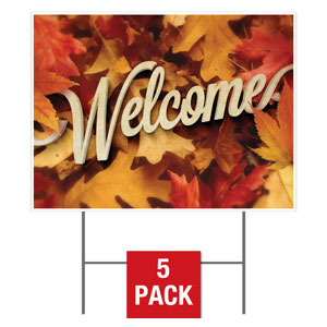 Welcome Leaf Pile Yard Signs - Stock 1-sided