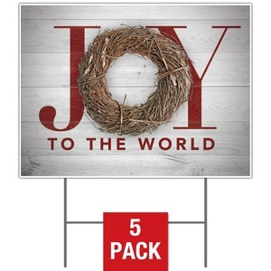 Joy Twig Wreath Yard Signs - Stock 1-sided