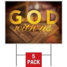 God With Us Manger Yard Sign