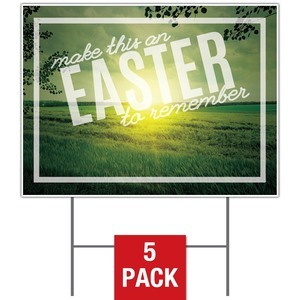 Easter to Remember Green Yard Signs - Stock 1-sided