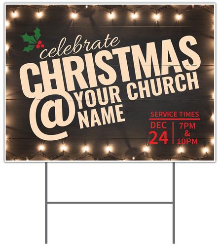 christmas at lights yard sign - church banners