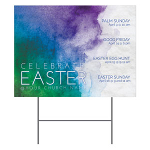 Celebrate Watercolor Easter Yard Signs