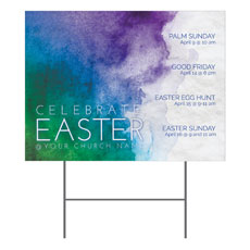 Celebrate Watercolor Easter Yard Sign