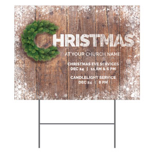 Christmas C Wreath Yard Signs