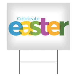 Color Bold Easter Yard Signs - Stock 1-sided