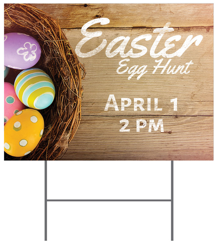 Yard Signs, Easter, Easter Basket of Eggs, 18 x 24