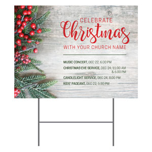 Christmas Branches and Berries YardSigns