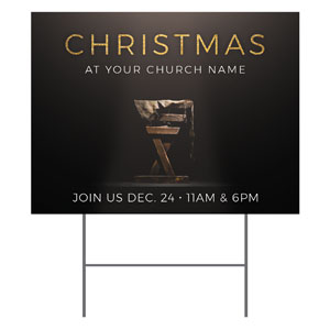 Gold Christmas Manger YardSigns