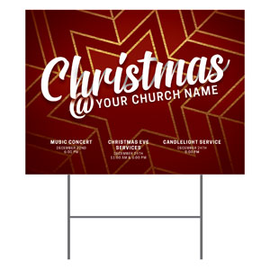 Red and Gold Snowflake YardSigns