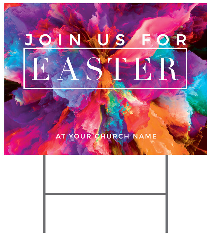 Yard Signs, Easter, Easter Color Smoke, 18 x 24